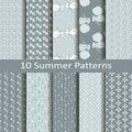 Set of ten summer patterns Royalty Free Stock Photo
