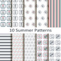 Set of ten summer patterns Royalty Free Stock Photo