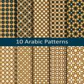 Set of ten traditional geometric arabic seamless vector patterns
