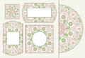 Set of tender greeting cards or invitations with doodle floral circle ornament for wedding, mother day, Valentines day