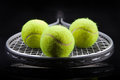 A set of tennis. Racket and ball. Royalty Free Stock Photo