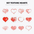 Set of texture hearts twelve drawn in pencil ink chalk on cardboard red on white background Royalty Free Stock Photo