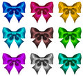 Set of textured bows vector illustration collection colored eps rgb created with gradient mesh and blending modes Royalty Free Stock Photography