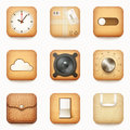 Set of textured wooden paper and leather app icons on rounded co corner square isolated eps vector illustration Stock Photo