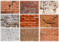 Set textures of brick walls collection texture old Stock Images
