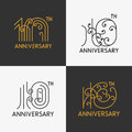 The set of th anniversary signs ornate design elements stock vector Stock Image