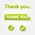 Set of Thank You Bent Stickers and Labels Stock Image