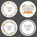 Set of thank you tags, decorative frames, gift tags, labels. Vector Royalty Free Stock Photo