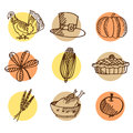 Set of thanksgiving hand drawn icons, isolated s