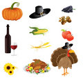 A set of thanksgiving icons Stock Image