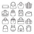 Set of thin line bag icons Royalty Free Stock Photo