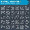 Set of thin line email and internet icons.