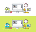 Set of thin line flat design concept of app developer workspace
