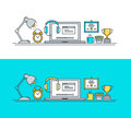 Set of thin line flat design concept of workspace