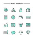 Set of thin line flat money and finance icons Royalty Free Stock Photo