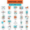 Set of thin line icons advertising media channels
