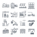 Set of thin line icons air, sea, rail freight terminal Royalty Free Stock Photo