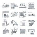 Set of thin line icons air, sea, rail freight terminal