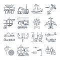 Set of thin line icons airport and airplane, control tower