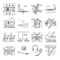 Set of thin line icons airport and airplane, terminal, runway