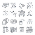 Set of thin line icons cafe, bar, restaurant, fast food