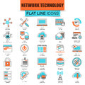 Set of thin line icons cloud data technology services Royalty Free Stock Photo