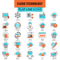 Set of thin line icons cloud data technology services