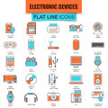 Set of thin line icons computer electronics and multimedia devices