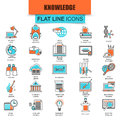 Set of thin line icons distance school education training Royalty Free Stock Photo