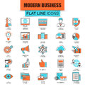 Set of thin line icons doing business using marketing technology ideas