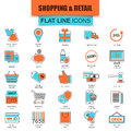 Set of thin line icons e-commerce, internet shopping Royalty Free Stock Photo