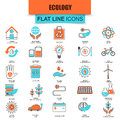 Set of thin line icons ecological energy source, environmental safety