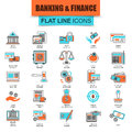 Set of thin line icons economics, banking and financial services Royalty Free Stock Photo