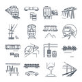 Set of thin line icons freight and passenger rail transport Royalty Free Stock Photo