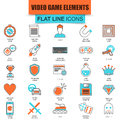 Set of thin line icons game objects, mobile gaming elements