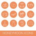 Set of thin line icons with honeymoon symbols Wedding trip