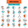 Thin line icons set of human brain features, mind process