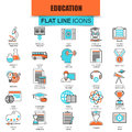 Set of thin line icons internet education and online course study