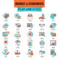Set of thin line icons market and economics, financial services