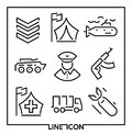 Set of thin line icons for military war and army