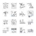 Set of thin line icons processing of fish