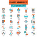 Set of thin line icons project management, business leadership