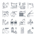 Set of thin line icons public utility, electricity, gas, water