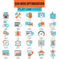 Set of thin line icons search engine optimization tools Royalty Free Stock Photo