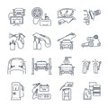 Set of thin line icons servicing, maintenance of car and auto