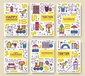 Set of thin line kids pattern concept. Art playground field, magazine, book, poster, abstract, banners, element. Vector