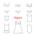 Set of thin line lingerie icons Royalty Free Stock Photo