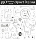 Set of 50 thin line sport icons.