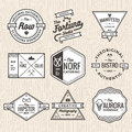Set of thin line vintage badges, banners, label, ribbon and logo template vector for business and shop Royalty Free Stock Photo