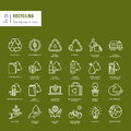 Set of thin line web icons for recycling Royalty Free Stock Photo
